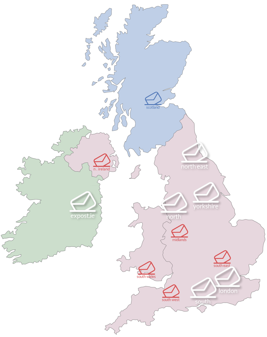 The Expost Mail Centre network across the UK